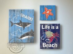 Beach Kids Room Decor - Beach Wall Art, Vintage Kids Beach Decor, Three Piece Canvas Art , Boys Room Sea animal Decor, Beach Kids art by MuralMAX on Etsy https://www.etsy.com/listing/154650501/beach-kids-room-decor-beach-wall-art
