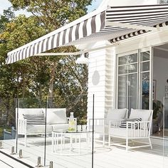 Bonnie's Forever Home is every bit as incredible as we'd imagined. The girls at simply get better and better. Outdoor Blinds, Outdoor Rooms, Outdoor Living, Outdoor Furniture, Deck Awnings, Outdoor Awnings, Window Awnings, Roll Out Awning, Three Birds Renovations