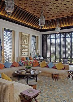 Living room at Shangri La by Tim Street-Porter. Photo credit: © Tim Street-Porter Doris Duke Foundation for Islamic Art, Honolulu, Hawaii. Moroccan Design, Moroccan Decor, Moroccan Style, Turkish Decor, Moroccan Bedroom, Moroccan Lanterns, Design Marocain, Doris Duke, Glam Living Room