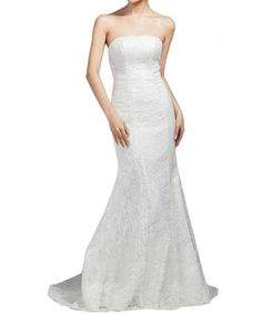 65deec155c0d3 Bridesmaid Sexy Strapless Wedding Long Dress Mermaid Lace Prom Gown - White  - CB11AD7K8JJ