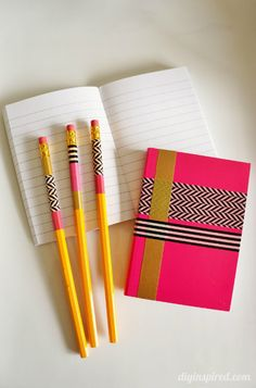 Washi Tape Crafts Pencils and Notebooks- Fun Back to School craft for kids