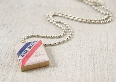 Air Mail Scrabble Tile Pendant Necklace by WiReDBoutique on Etsy Beginning at $9