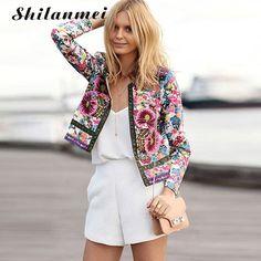 womens bomber jacket outerwear bomber parka jacket women 2017 roupas femininas printed flower dashiki jassen vrouwen spijkerjack #Affiliate