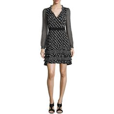 Diane von Furstenberg Fiona Daisy Buds Silk-Blend A-Line Dress ($548) ❤ liked on Polyvore featuring dresses, a line dress, long sleeve dress, holiday dresses, wrap dress and long sleeve wrap dress