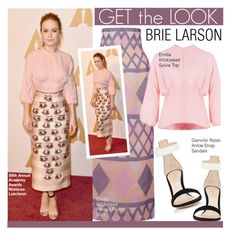 """Get The Look-Brie Larson"" by kusja ❤ liked on Polyvore featuring Emilia Wickstead, Gianvito Rossi, GetTheLook, celebstyle and brielarson"