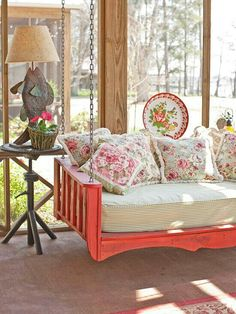 porch swing bed would be lovely on the Sleeping Porch Outdoor Living Areas, Living Spaces, Outdoor Rooms, Living Room, Indoor Outdoor, Outdoor Kitchens, Sleeping Porch, Diy Casa, Swinging Chair
