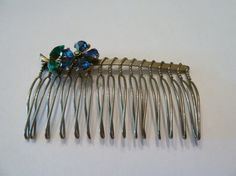 Vintage Silver Hair Comb Rhinestone Blue and Green Crystal Flower Costume Jewelry on Etsy, $7.80
