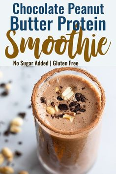 Low Unwanted Fat Cooking For Weightloss Chocolate Peanut Butter Protein Shake - A Quick And Easy Protein Shake Loaded With Chocolate And Peanut Butter And No Protein Powder Perfect For A Quick Breakfast Or Snack Protein Smoothies, Protein Smoothie Recipes, Breakfast Smoothie Recipes, Easy Smoothies, Green Smoothie Recipes, Smoothie Diet, Breakfast Healthy, Drink Recipes, Healthy Snacks