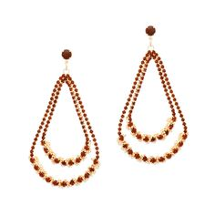 Achieving glamour is easy-CZ with the double loop drop Breanna earrings. A two-drop cascade of amber CZ's, Breanna is made of sparkle. Pair these elegant beauties with a lariat necklace to extend the delicate look.   Find it on Splendor Designs