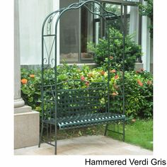 Trade a bland landscape for the elegant, old-world charm of this International Caravan wrought iron arbor bench. The lattice design and classic scrollwork detailing draw the eye and invite guests to r