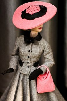 Barbie, Dior Fabulous gray suit with pink hat and bag, accented with black gloves, buttons and collar.  Wow--do they make this in real people size?!