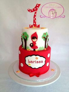 Imagini pentru Little Red Riding Hood cake First Birthday Cakes, Birthday Cake Girls, Fancy Cakes, Cute Cakes, Fondant Cakes, Cupcake Cakes, Cake Designs For Kids, Cumpleaños Diy, Little Girl Cakes