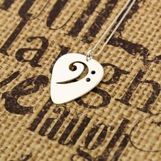 Guitar pick necklace sterling silver bass clef F by Silversmith925