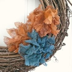 Upcycle those used dryer sheets to make some shabby, vintage-style faux flowers, then dye them to match your Fall decor! Tutorial from The Shed