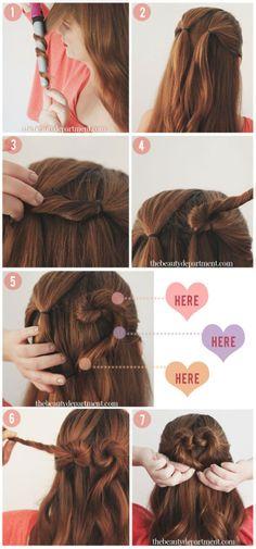 Heart bun / valentine's day hair