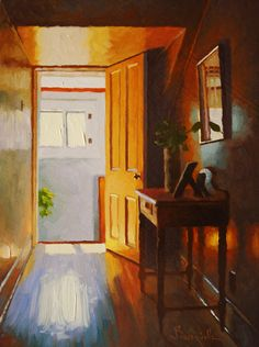 ◇ Artful Interiors ◇ paintings of beautiful rooms - LARRY BRACEGIRDLE  Head of the Stairs