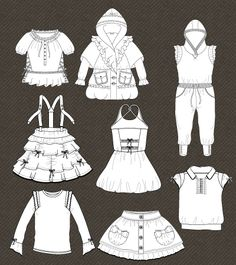 Set of isolated fashion flats for girls | Kidsfashionvector | cute vector art for kids clothes
