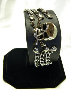 Leather Cuff Wristband with Skull & by CreationsbyDreamLady, $25.00