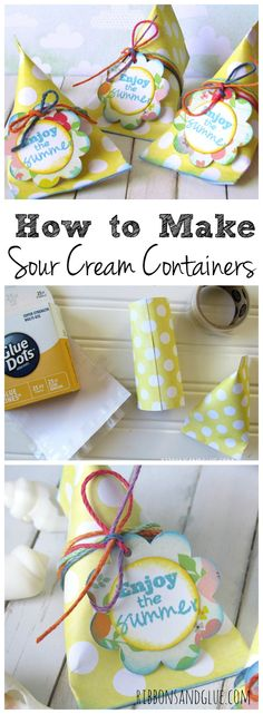 How to make Sour Cream Containers. All you need is scrapbooking paper and adhesive.  Such an easy DIY treat container to make for any occasion.