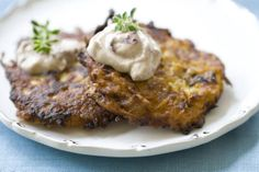 Recipe for Pumpkin Latkes with Spiced Cranberry Sour Cream