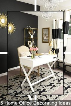 Black white and gold glam and feminine home office. Black white and gold glam and feminine home office. Home Office Space, Home Office Design, Home Office Furniture, Home Office Decor, Office Ideas, Office Spaces, Work Spaces, Small Spaces, Office Inspo