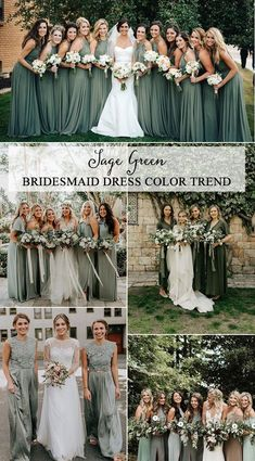 Top 5 Bridesmaid Dress Color Trends for 2019 - EmmaLovesWeddings trending sage green bridesmaid dresses<br> So today we're talking about the trends for bridesmaid dresses. It's undoubtedly an honor to be a part of a bridal party, but your longtime. Sage Bridesmaid Dresses, Bridesmaid Color, Christmas Bridesmaid Dresses, Mint Green Bridesmaids, Destination Bridesmaid Dresses, Winter Wedding Bridesmaids, Sage Green Wedding, Green Sage, Wedding Ideas Green