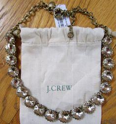 J CREW Crystal Venus Flytrap Flower Link Ox Gold Statement Necklace Jewelry NWT #JCrew #Statement
