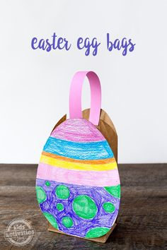 This easy and fun Easter Egg Bag is the perfect way for toddlers and preschoolers to carry their Easter eggs. It requires minimal craft supplies and is super easy for home, school, or daycare.