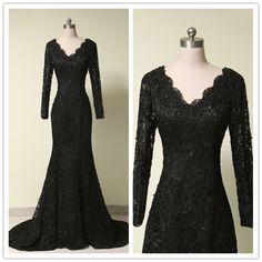 Find More Evening Dresses Information about Formal Evening Dress 2017 Custom Made Black Lace Mermaid Evening Gown Long Sleeves V Neck Prom Dresses vestido de festa ,High Quality dress sock,China dresses dress Suppliers, Cheap dress patterns prom dresses from Sweety-Bridal on Aliexpress.com