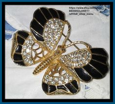 Weiss Butterfly Rhinestones, Brooche, Black Enamel and Gold tone Signed by Weiss…