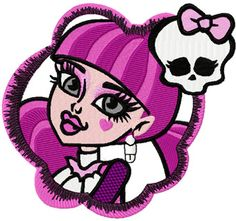 Monster High Draculaura badge machine embroidery design