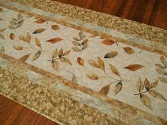 Elegant Table Runner with Gold and White Leaves Thanksgiving