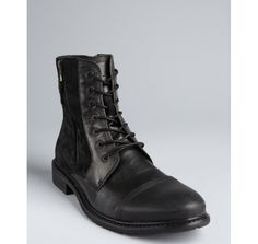 Kenneth Cole Reaction black leather and faux suede 'Hit Men' zip side boots