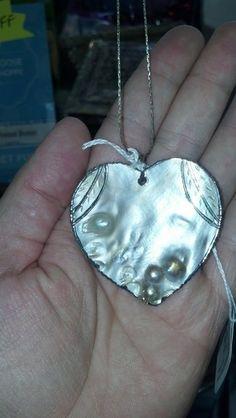 White Abalone Heart Pendant