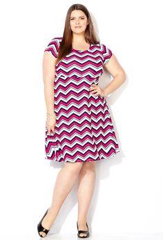 Pink Chevron Skater Dress,