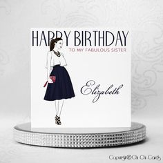 Luxurious Birthday Card - Union Style  A beautiful #birthday card featuring a #fashionable lady in an outfit of red, white and blue. She is wearing a white flowing top, navy blue skirt, red clutch #bag and black #shoes. She is wearing #Swarovski #jewellery, with 2 #crystals in her #necklace, 3 on her #bracelet and an #earring. Simply stunning.