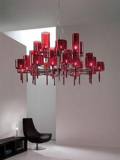Axo Light's Spillray Suspension 30 Red – Interior Design's Best of Year Awards Nominations Modern Lighting, Lighting Design, Lighting Ideas, Lighting Concepts, Red Interior Design, Interior Decorating, Decorating Ideas, Blitz Design, Red Interiors
