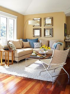 Combining neutrals with metallics and mirrors turn up the shimmer: http://www.bhg.com/rooms/living-room/makeovers/neutral-color/?socsrc=bhgpin070514turnuptheshimmer&page=12