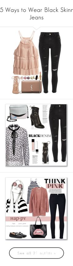 """15 Ways to Wear Black Skinny Jeans"" by polyvore-editorial ❤ liked on Polyvore featuring blackskinnyjeans, waystowear, H&M, River Island, Yves Saint Laurent, Gianvito Rossi, Bare Escentuals, Chanel, Jaeger and Circus By Sam Edelman"