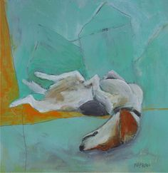 """""""Dog at Home"""" by Katherine McClure. 8x8 inches. Acrylic and pencil on wood panel. SOLD"""