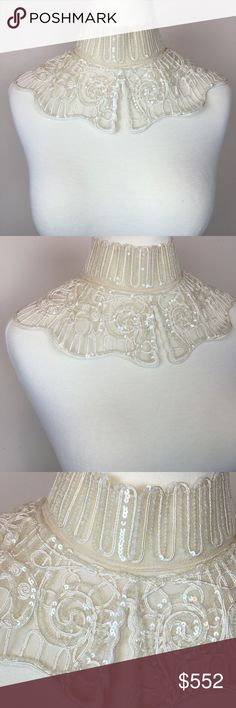 Anne Fontaine Couture Lace Collar Re-embroidered mesh collar with sequin detail. Fastens with tie in the back. This collar was only worn once for a photoshoot and is in great condition. Anne Fontaine Accessories