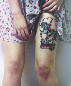Carousel unicorn tattoo