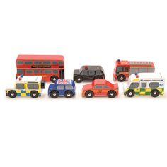 """Spielbus und Autos """"London"""" (Holz) im Set"""