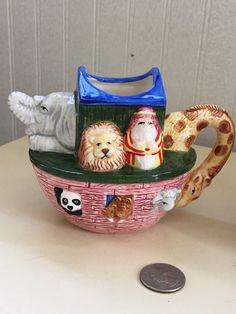 Noah's Ark sugar bowl and creamer Noahs Ark by OctoberAfter