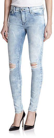 Current/Elliott City Distressed Acid-Washed Skinny Jeans on shopstyle.com