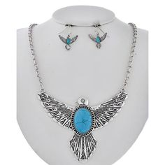 """Bird Turquoise Necklace Set Burnished Silver Tone / Turquoise Stone / Lead Compliant / Metal / Fish Hook (earrings) / Animal / Thunderbird / Pendant / Necklace & Earring Set  •   LENGTH : 16 3/4"""" + EXT •   EARRING : 7/8"""" X 1"""" •   POINT ACCESSORY : 4"""" X 2 3/4""""  •   B.SILVER/L.BLUE R.E.A.L Jewelry Jewelry Necklaces"""