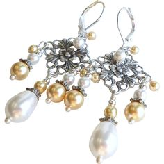 Aged Silver Finished Brass Swarovski Faux Pearl Chandelier Earrings found at www.rubylane.com