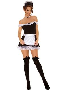 4 PC Sexy Satin Maid Costume. Includes off shoulder dress, apron, neck piece, and head piece. 95% Cotton, 5% Elasthan. Colors: Black/white; Sizes: S/M, M/L, 1X/2X, 3X/4X [Stockings purchased separately] See Size Chart below. Ships in 1-2 business days. Maid Halloween, Theme Halloween, Sexy Halloween Costumes, Adult Halloween, Halloween 2013, Halloween Images, Fantasy Costumes, Women Halloween, Halloween Stuff