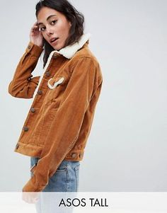 21cdb94b3d9 ASOS DESIGN Tall cord jacket with fleece collar in rust Corduroy Jacket