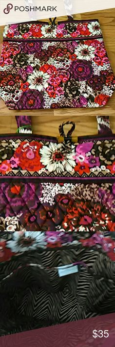 NWT Vera Bradley rosewood tote Tote with floral pattern in Browns, white, purple, pink and red.  Toggle closure and inside, zebra fabric and 3 slip pockets.  This is my favorite style of all the VB bags for everyday use, and the colors on this one are a bit more sedate than some of the other bolder prints. Vera Bradley Bags Totes